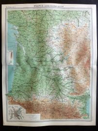 Bartholomew 1922 Large Map. France, South Western Section